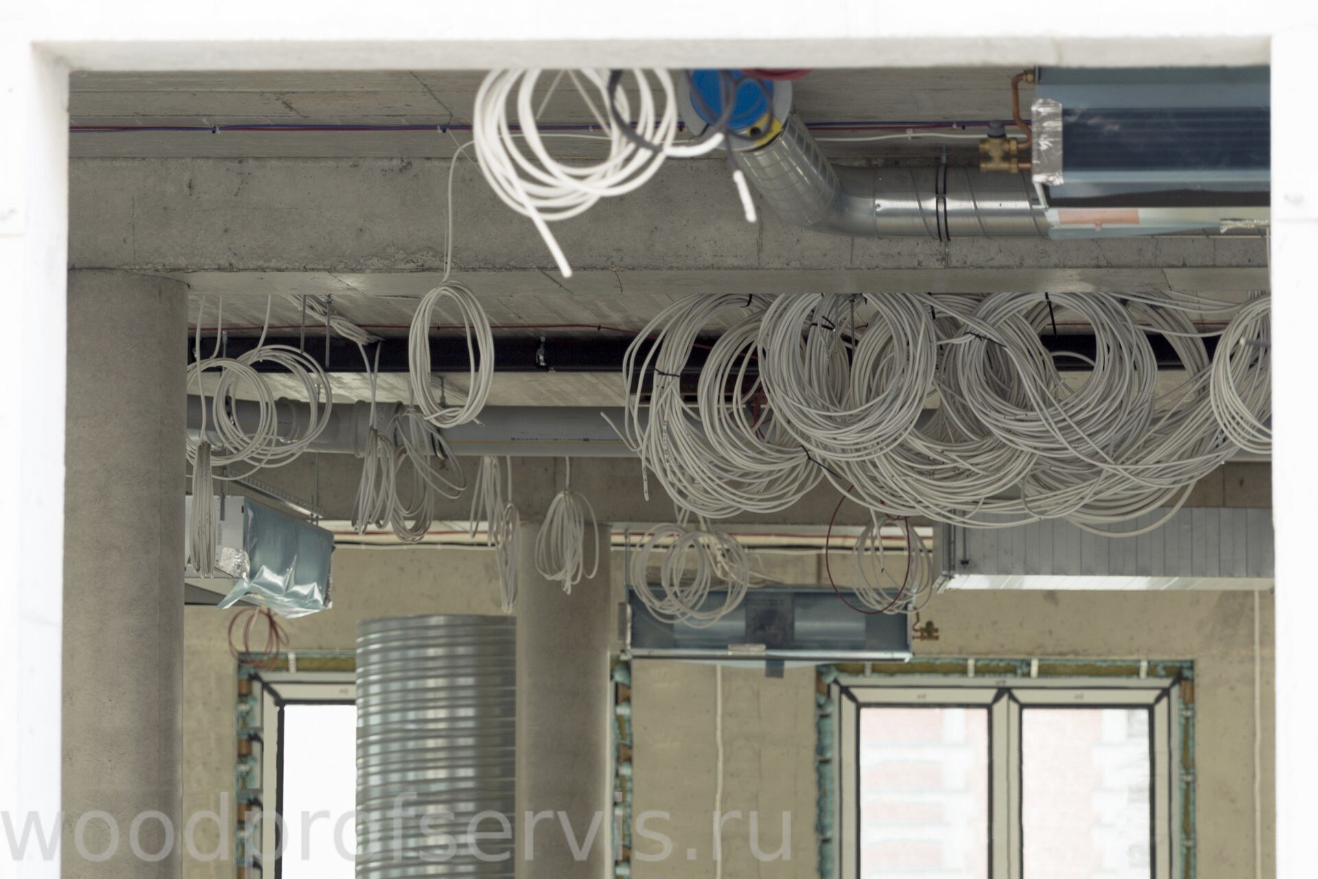 Interior construction site. Cabling and wiring of new office place